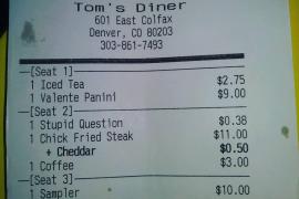 Un restaurante cobra un suplemento a los clientes que preguntan estupideces