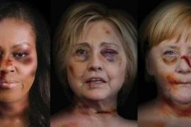 Merkel, Michelle Obama, Hillary Clinton, «golpeadas» en protesta por la violencia de género
