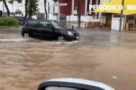 Las lluvias torrenciales provocan inundaciones en Platja d'en Bossa