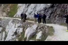 Unos senderistas despeñan a un jabalí