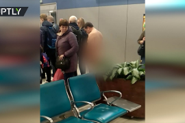 Pasajero desnudo en Moscú